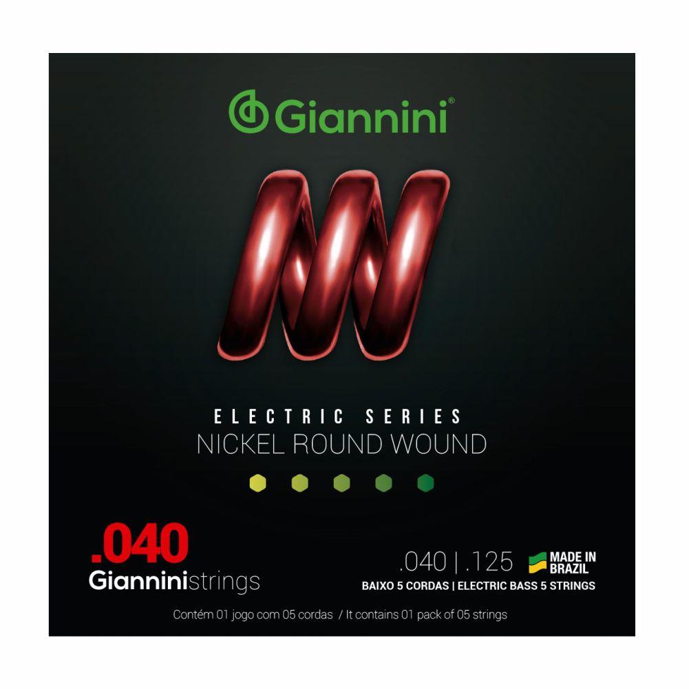 Encordoamento Giannini GEEBRL5 040 Niquel para Baixo 5 cordas