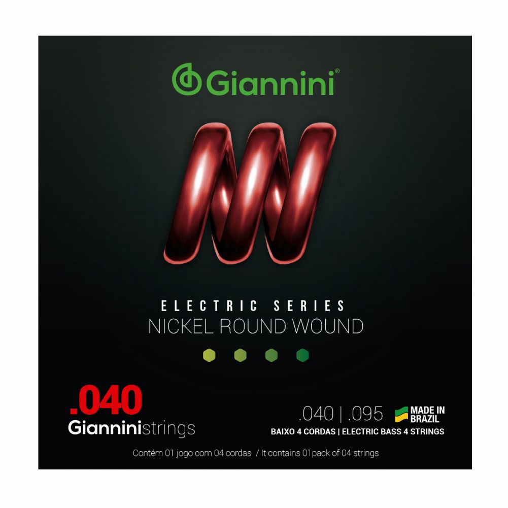 Encordoamento Giannini GEEBRL 040 Niquel para Baixo 4 cordas