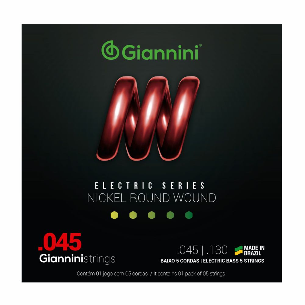 Encordoamento Giannini GEEBRS5 045 Niquel para Baixo 5 cordas