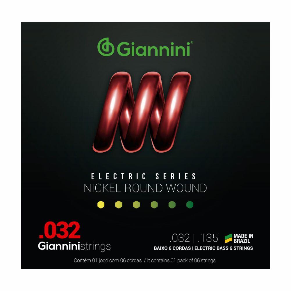 Encordoamento Giannini GEEBRS6 032 Niquel para Baixo 6 cordas