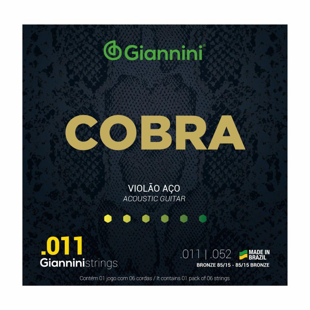 Encordoamento Giannini Cobra GEEFLK 011 aço para Violão Folk
