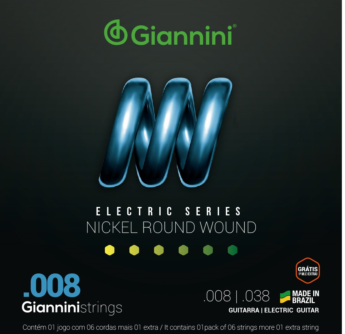 Encordoamento Giannini GEEST8 008 Niquel para Guitarra