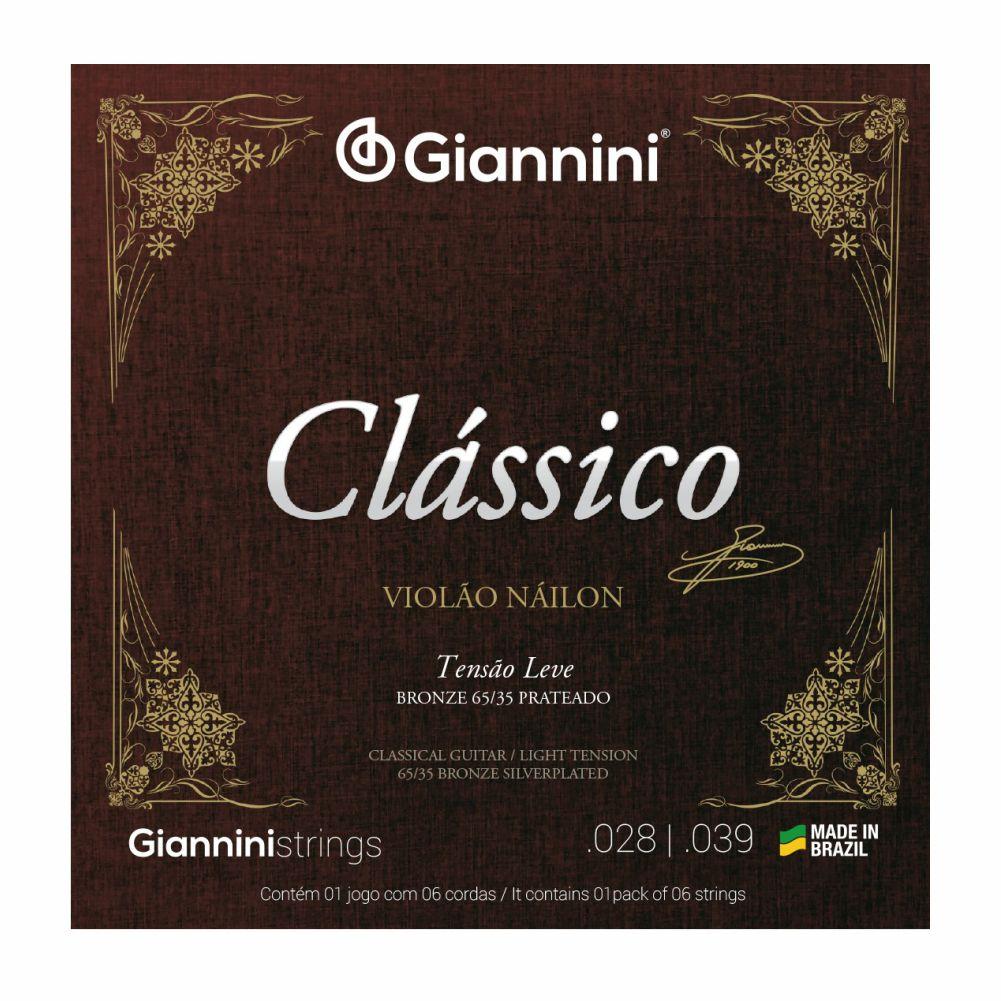 Encordoamento Giannini Clássica GENWPL nylon tensão leve para violão