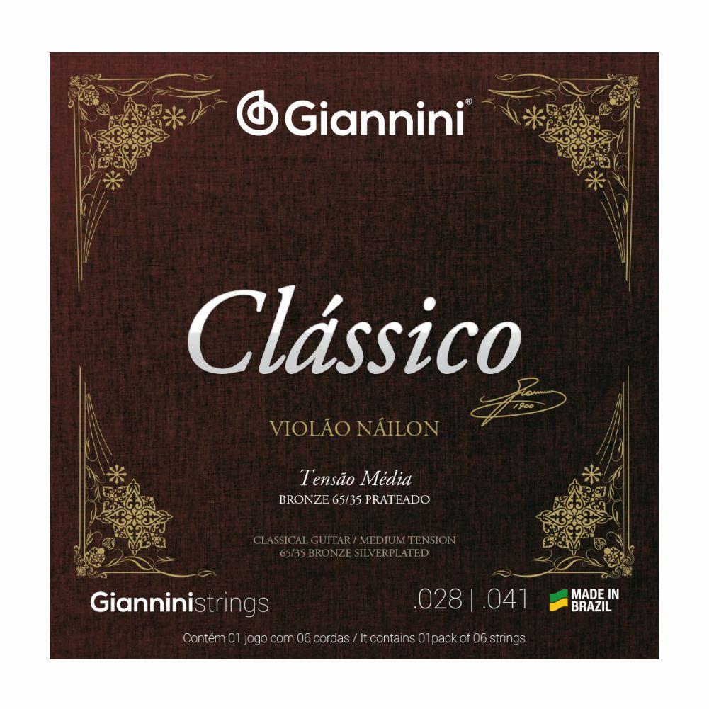 Encordoamento Giannini Clássica GENWPM nylon tensão média para violão