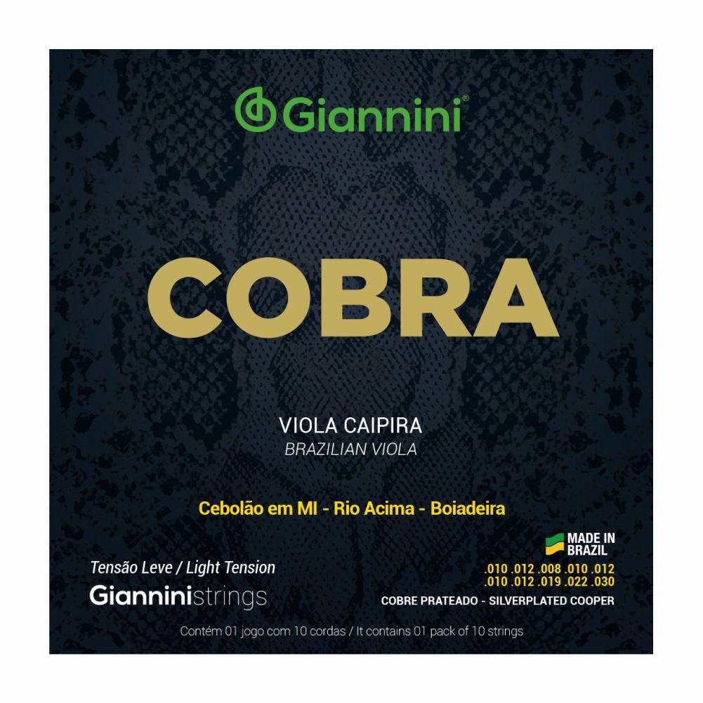 Encordoamento Giannini Cobra GESVNL tensão leve niquel 010 para Viola Caipira
