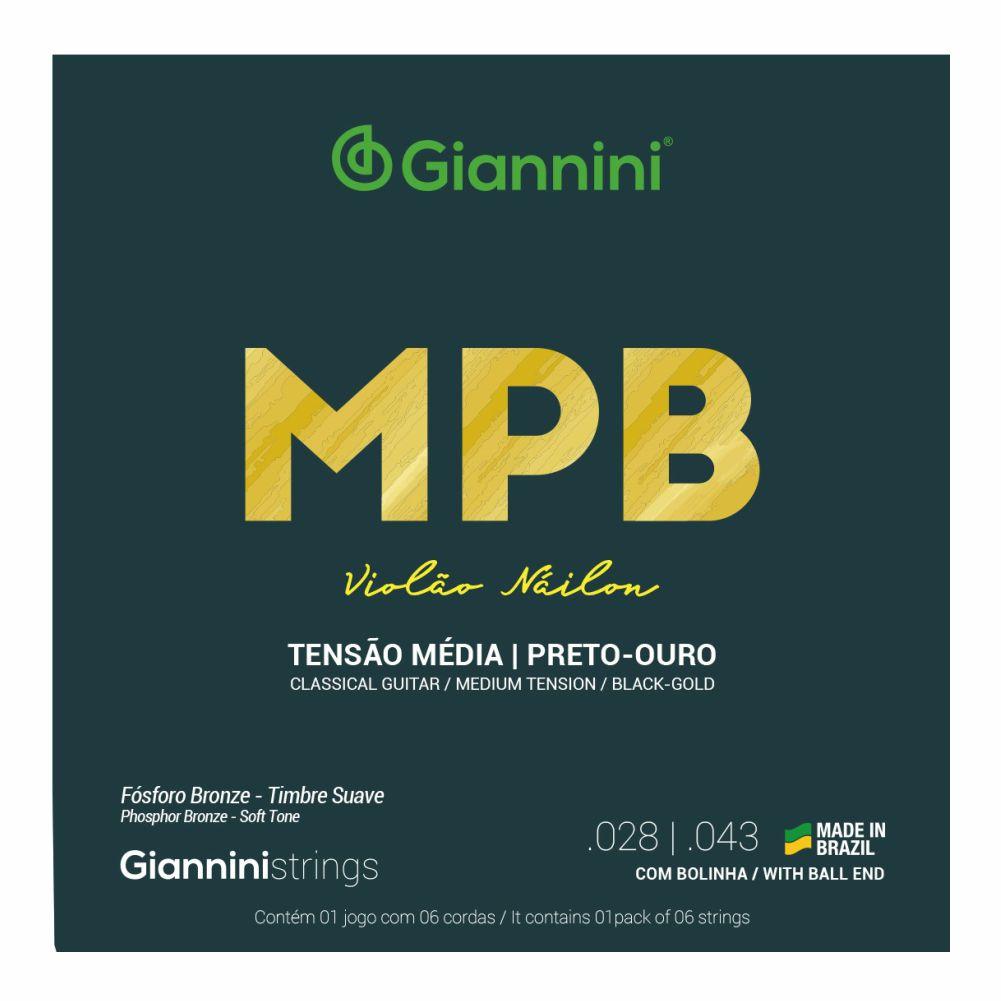 Encordoamento Giannini MPB GENWBG nylon Preto/Ouro com bolinha tensão média para violão