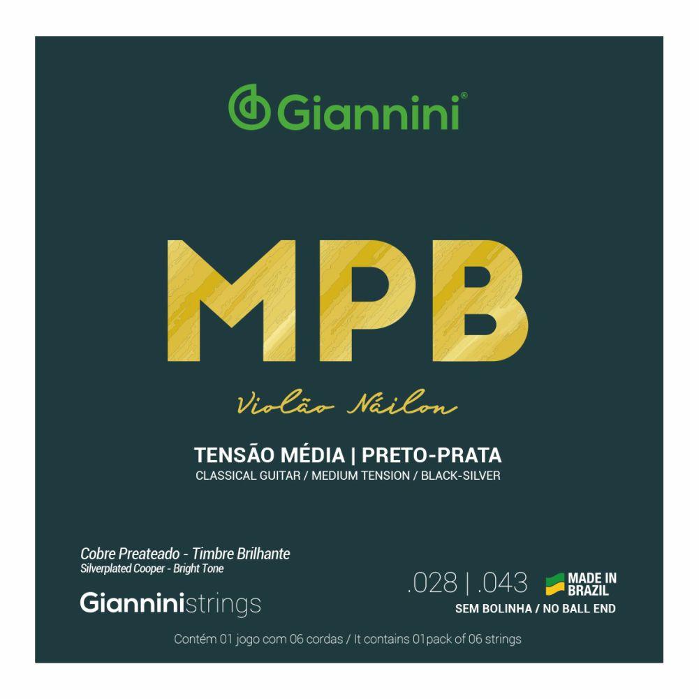 Encordoamento Giannini MPB GENWBS nylon Preto/Prata tensão média para violão