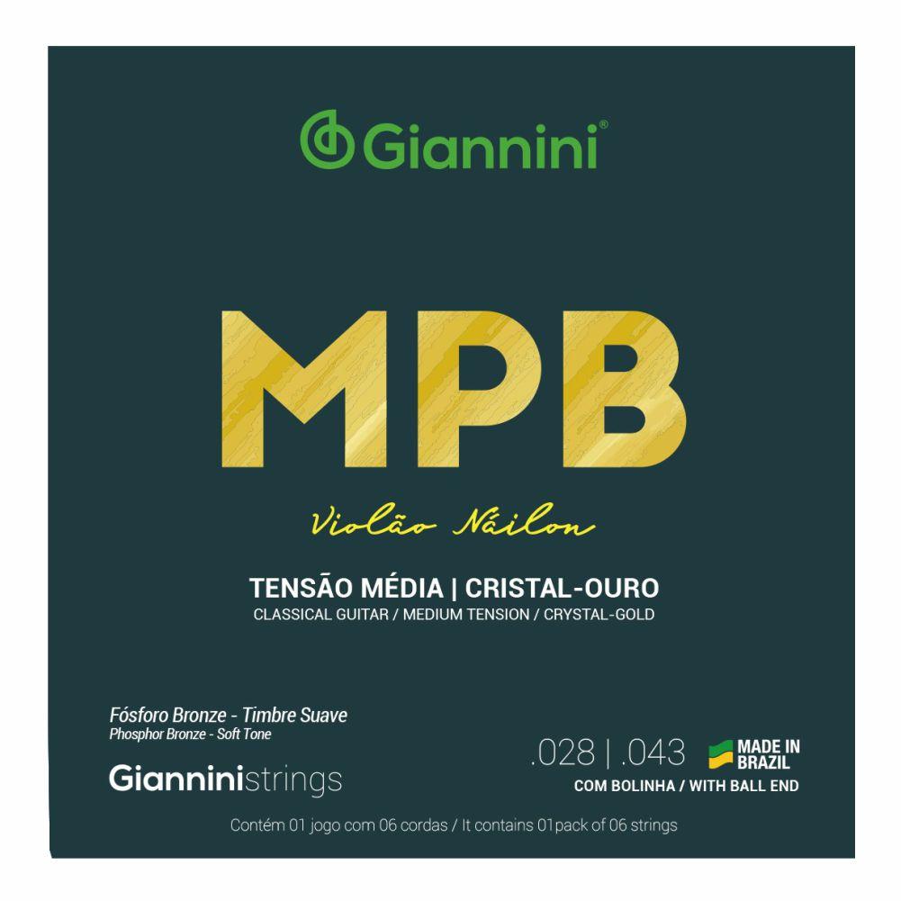 Encordoamento Giannini MPB GENWG nylon Cristal/Ouro com bolinha tensão média para violão