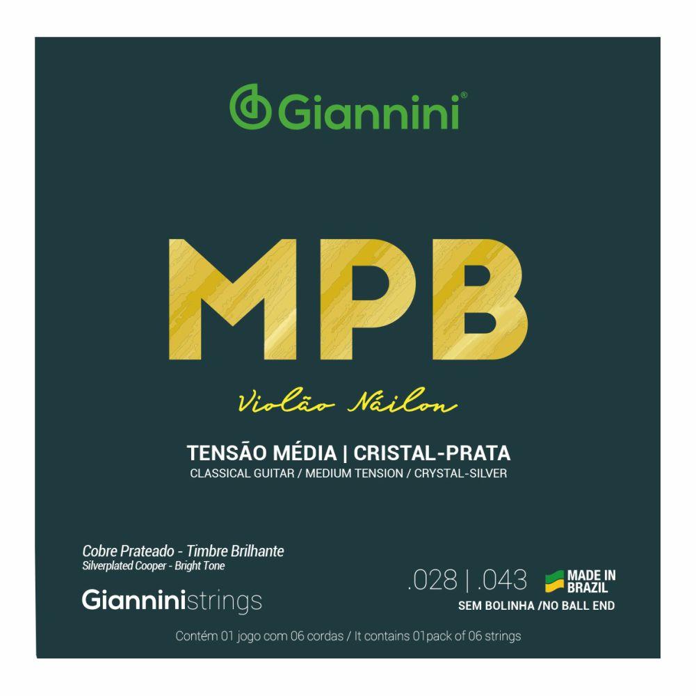 Encordoamento Giannini MPB GENWS nylon Cristal/Prata tensão média para violão