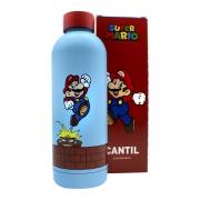 Garrafa Térmica Mario Azul 550ml Metal Super Nintendo