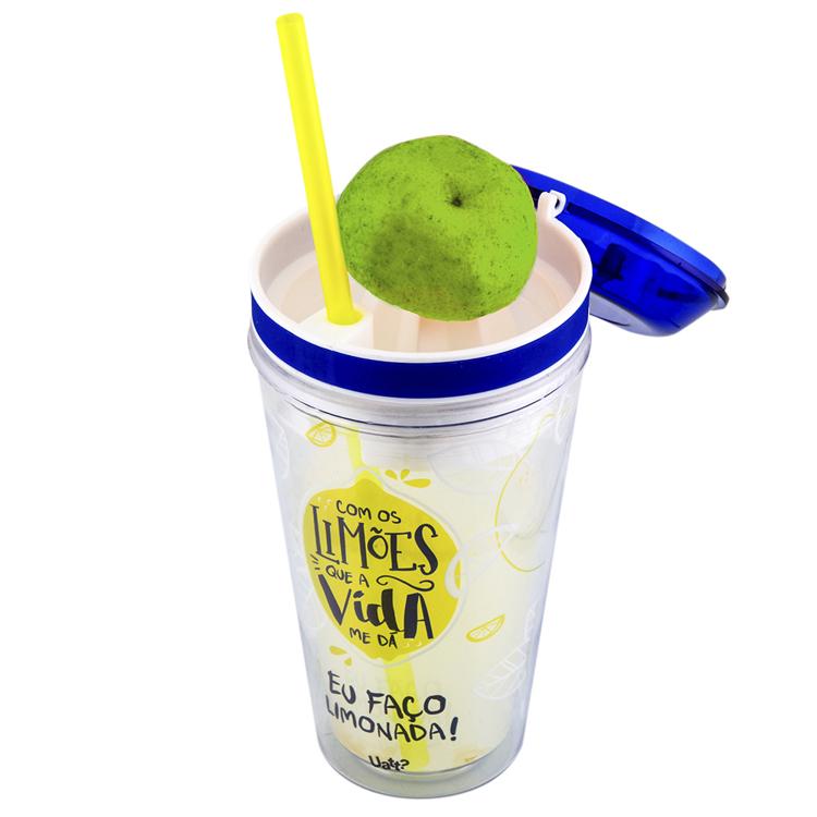 Copo com Canudo e Espremedor 450ml - Limão - Uatt