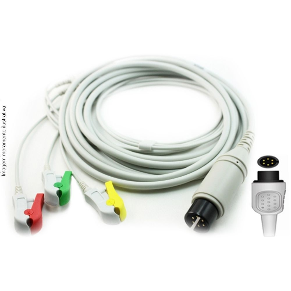 Cabo Paciente 3 Vias Compatível com AAMI - IEC /AHA Tipo Neo Pinch Solda - Vepex