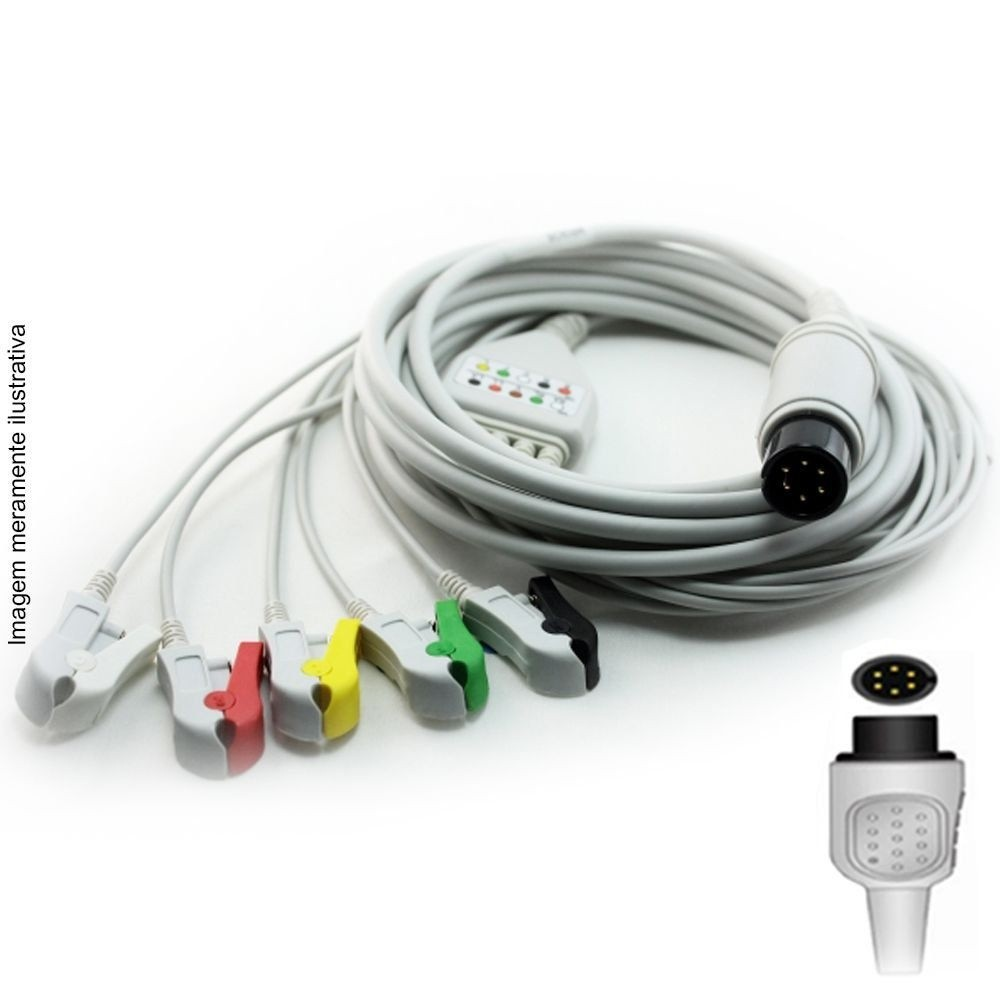 Cabo Paciente 5 Vias Compatível com BIOLIGHT Tipo Neo Pinch Solda - Vepex