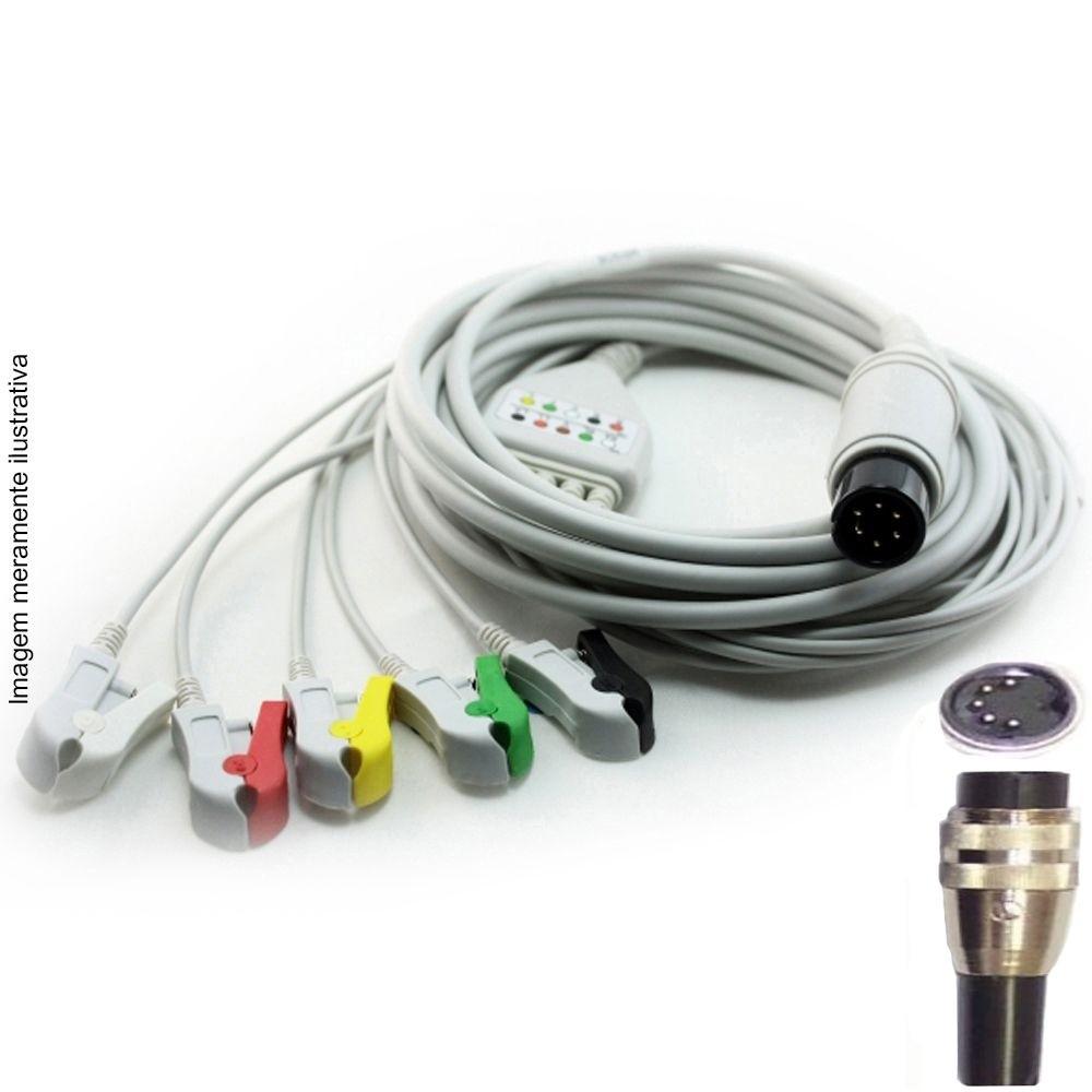 Cabo Paciente 5 Vias Compatível com CMOS DRAKE Tipo Neo Pinch Encaixe EPX-C513-N - Vepex