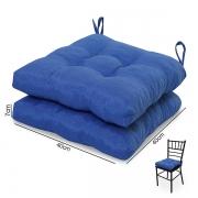 2 Almofadas para Assento de Cadeiras Azul