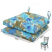 2 Almofadas para Assento de Cadeiras Flor Azul