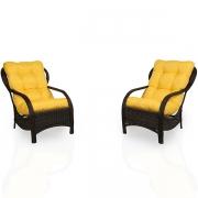 2 Cadeiras de Fibra com Almofadas Amarela