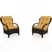 2 Cadeiras de Fibra com Almofadas Amarelo Mesclado