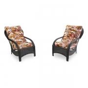 2 Cadeiras de Fibra com Almofadas Folhagem Outono