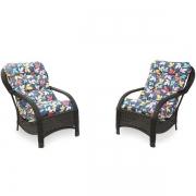 2 Cadeiras de Fibra com Almofadas Impermeáveis Barça