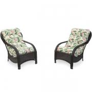 2 Cadeiras de Fibra com Almofadas Impermeáveis Flor