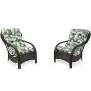 2 Cadeiras de Fibra com Almofadas Impermeáveis Folha