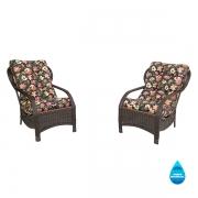 2 Cadeiras de Fibra com Almofadas Impermeáveis Havana