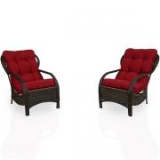2 Cadeiras de Fibra com Almofadas Marsala