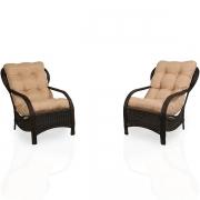 2 Cadeiras de Fibra com Almofadas Nude