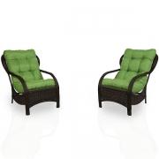 2 Cadeiras de Fibra com Almofadas Verde