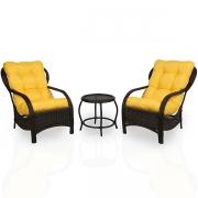 2 Cadeiras de Fibra Com Mesa e Almofadas Amarela