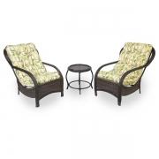 2 Cadeiras de Fibra Com Mesa e Almofadas Bambu Claro