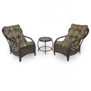 2 Cadeiras de Fibra Com Mesa e Almofadas Bambu Escuro