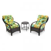 2 Cadeiras de Fibra Com Mesa e Almofadas Flor Amarela