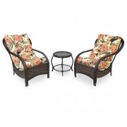 2 Cadeiras de Fibra Com Mesa e Almofadas Flores Laranja