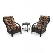 2 Cadeiras de Fibra Com Mesa e Almofadas Helicônia