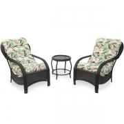 2 Cadeiras de Fibra Com Mesa e Almofadas Impermeáveis Flor
