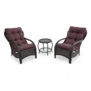 2 Cadeiras de Fibra Com Mesa e Almofadas Marrom