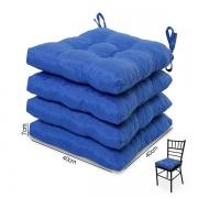 4 Almofadas para Assento de Cadeiras Azul