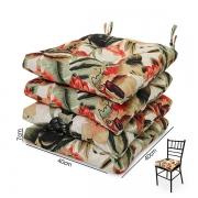4 Almofadas para Assento de Cadeiras Flores Laranja