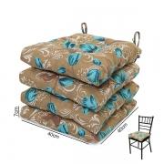 4 Almofadas para Assento de Cadeiras Lírio Azul