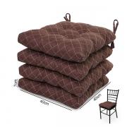 4 Almofadas para Assento de Cadeiras Marrom Riscado
