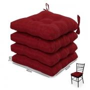 4 Almofadas para Assento de Cadeiras Vermelha