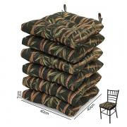 6 Almofadas para Assento de Cadeiras Bambu Escuro
