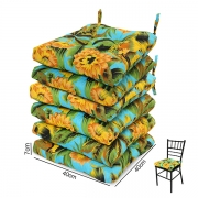 6 Almofadas para Assento de Cadeiras Flor Amarela e Laranja