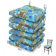 6 Almofadas para Assento de Cadeiras Flor Azul