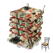 6 Almofadas para Assento de Cadeiras Flores Laranja