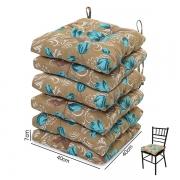 6 Almofadas para Assento de Cadeiras Lírio Azul
