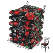 6 Almofadas para Assento de Cadeiras Lírio Vermelho