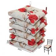 6 Almofadas para Assento de Cadeiras Lucélia Vermelha